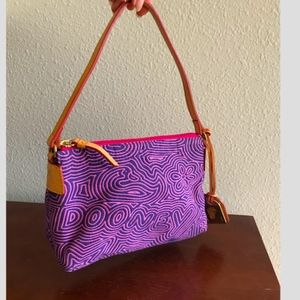 Dooney & Bourke Scribble violet&fuchsia micro tote